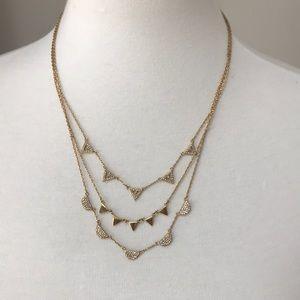 Stella and Dot gold chevron necklace EUC